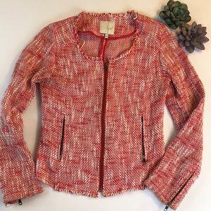 Joie Red and White Tweed Zip Blazer
